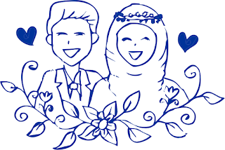 Template Pernikahan Kartun Muslim Vector CorelDRAW CDR