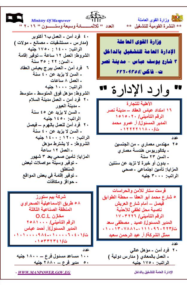 """اعلان وظائف """"وزارة القوى العاملة والهجرة 9652 وظيفة داخل مصر وخارجها"""" لجميع المؤهلات براتب من 2000 الى 7000 جنيه"""