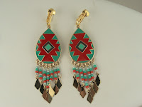 http://www.thecliponearringstore.com/go-tribal-red-and-turquoise-beaded-clip-on-earrings.html