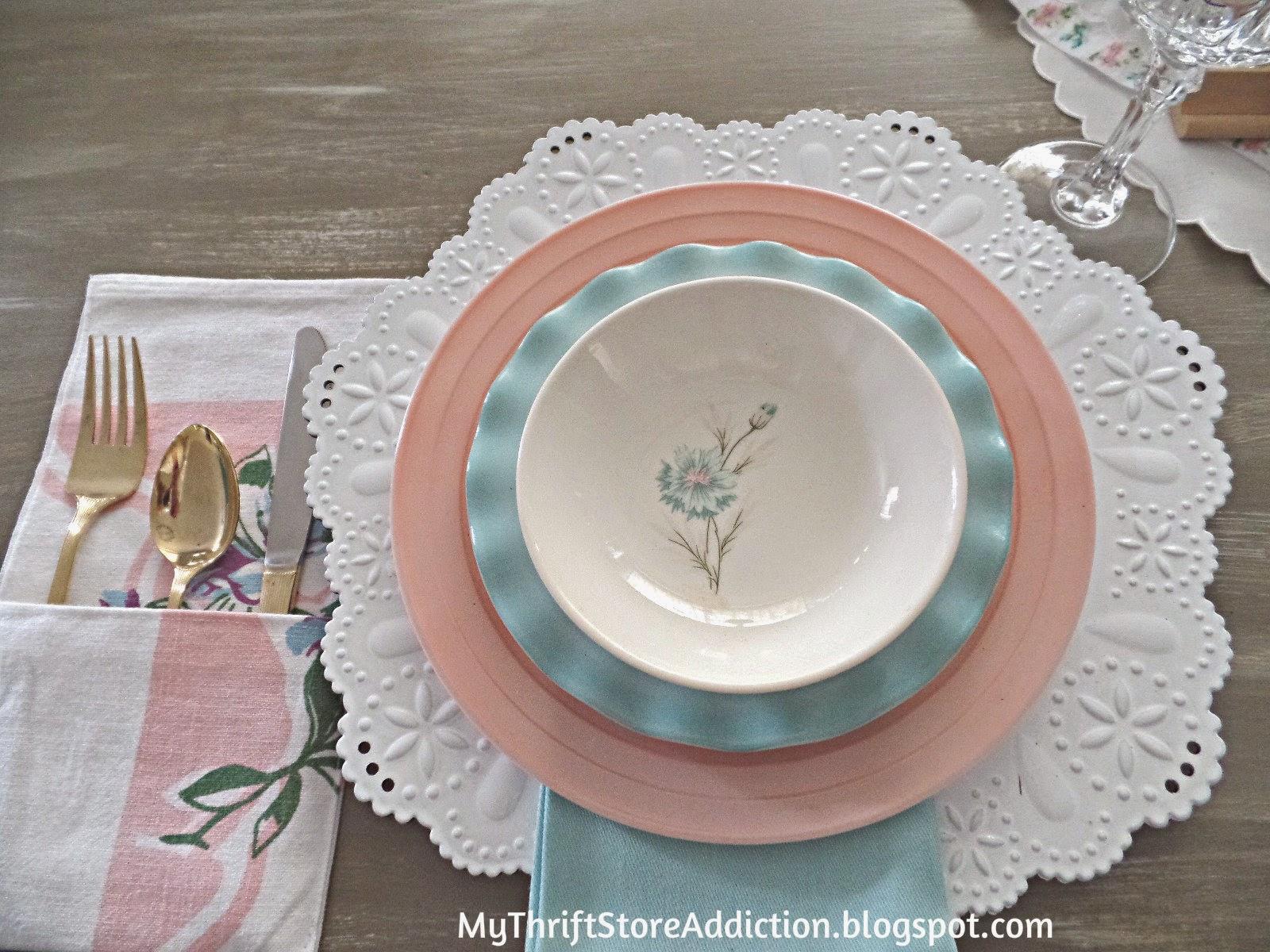 Vintage pastel dishes