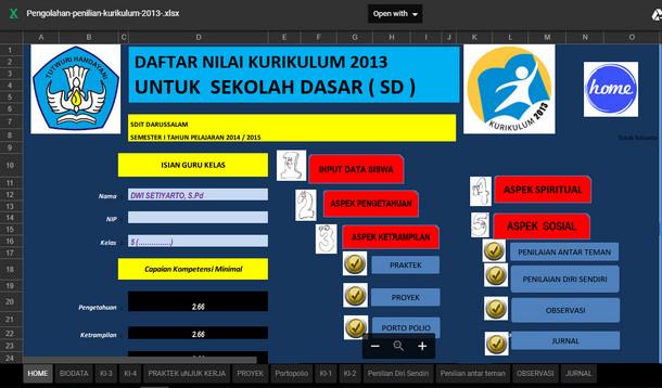 Aplikasi Pengolahan Nilai Kurikulum 2013 SD
