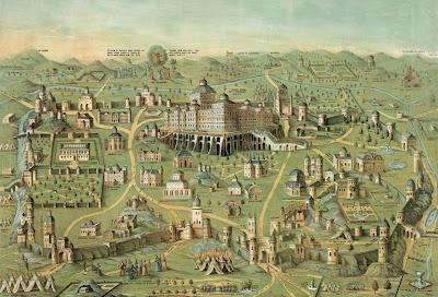Impresión de 1871 a modo de plano que incluye el templo de Salomón