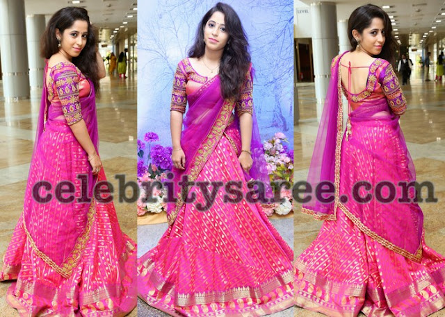Naga Bhairavi in Pink Half Saree