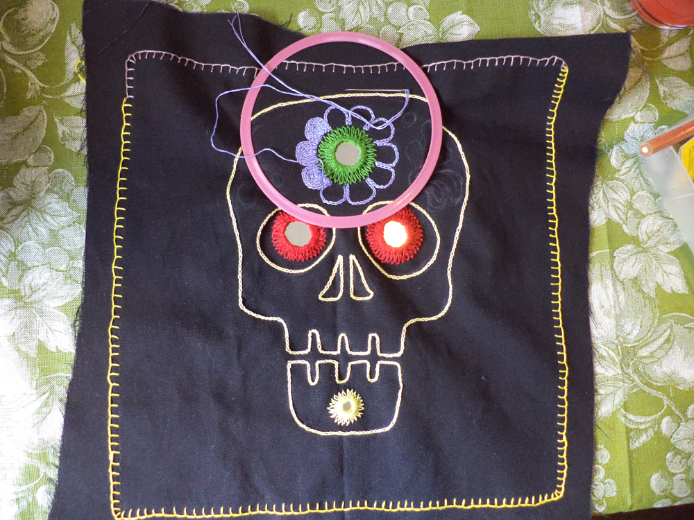 My Good Babushka Dia De Los Muertos Skull Pillow With Shisha