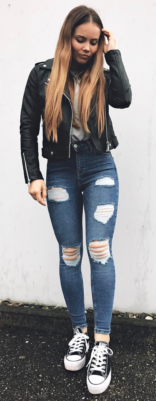street style perfection / black moto jacket + top + rips + converse