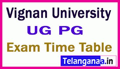 Vignan University UG PG Exam Time Table