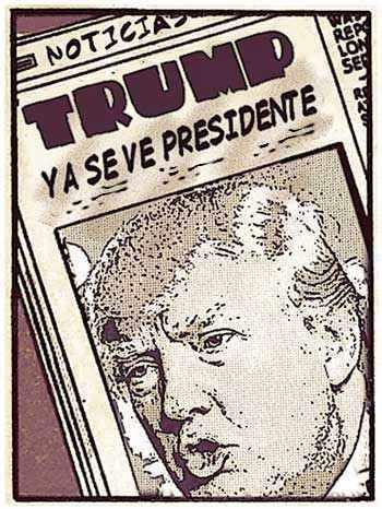 Newspaper tipo cómic con Donald Trump