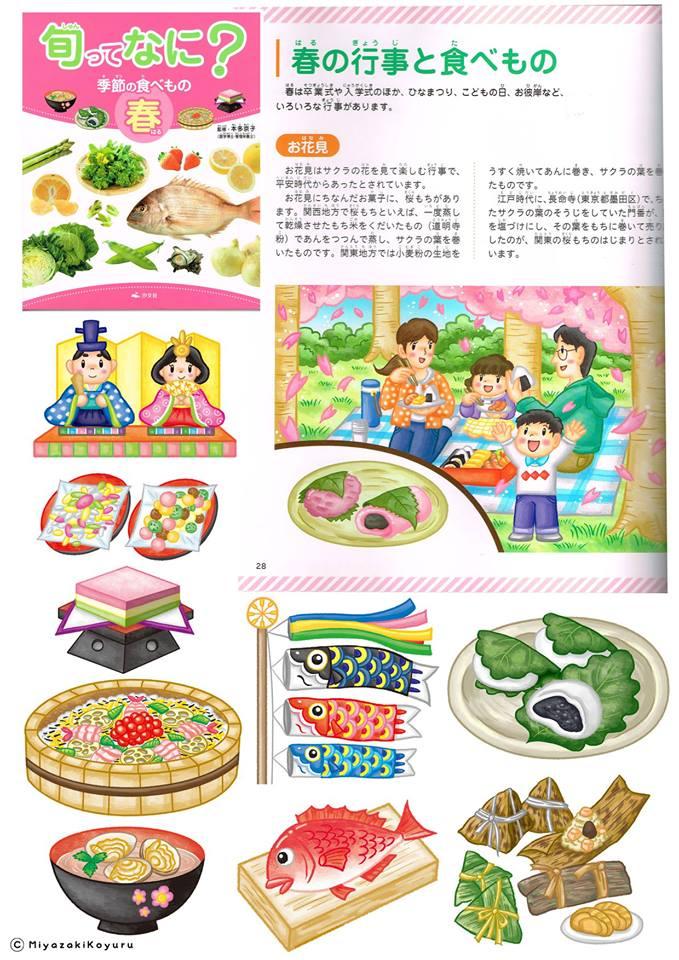食べ物イラスト,春,旬,春の季節の食べ物,小学生,図鑑,教材イラストレーター,食育.イラストレーター検索、イラスト制作
