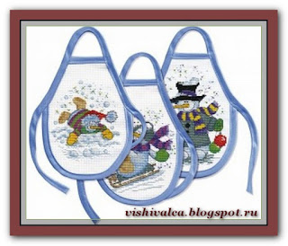 "Марья Искусница 12.001.01 Фартучки на бутылки ""Снеговики"""