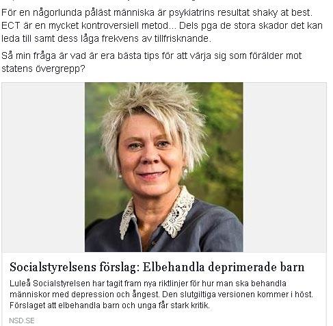 Socialstyrelsens förslag: Elbehandla deprimerade barn.  Lotta Lindgren, legitimerad psykoterapeut och handledare i Luleå, beskriver rekommendationen som grotesk.