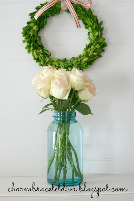 pink roses vintage blue mason jar vase boxwood wreath