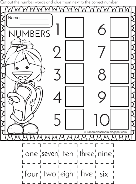 Number Cut and Paste Activities