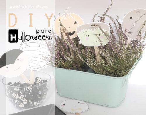 Diy y descargable gratis para Halloween diseño de Habitan2 | Manualidad para hacer con niños en Halloween | Toppers para tu fiesta de Halloween