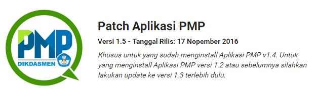 Aplikasi Penjaminan Mutu Pendidikan (PMP) versi Patch Aplikasi PMP updater_14_to_15.001