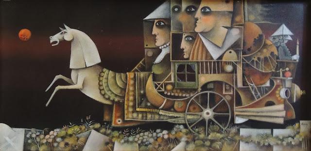 Eduard Alcoy obra arte acrílico lienzo surrealista carro con caballo