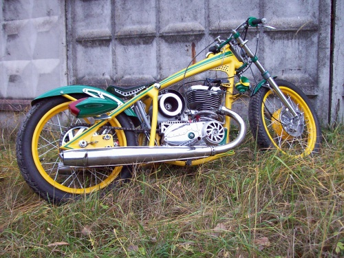 a board tracker made from an Izh motorcycle