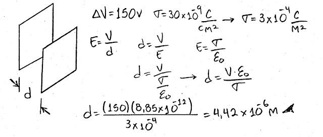 Cuando se le aplica una diferencia de potencial de 150 V a las placas paralelas de un capacitor, éstas tienen una densidad de carga superficial de 30.0 nC/cm2. ¿Cuál es el espaciamiento entre ellas?