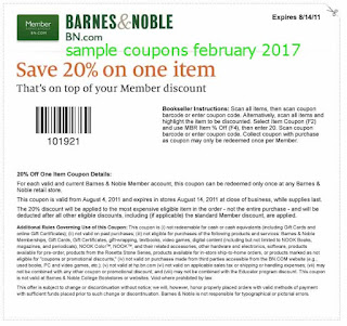 Barnes and Noble coupons february 2017