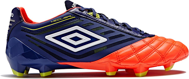 ee57ee49c The front leather part of the new Umbro Medusae boot is of striking red  color, while the rear, laces and tongue are navy. Yellow accents are  present in the ...