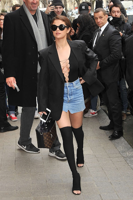 Selena Gomez in Jeans Mini Skirt out in Paris