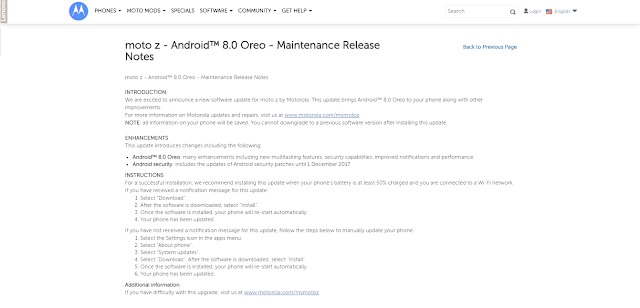 Motorola Posts Oreo Release Notes for Moto Z