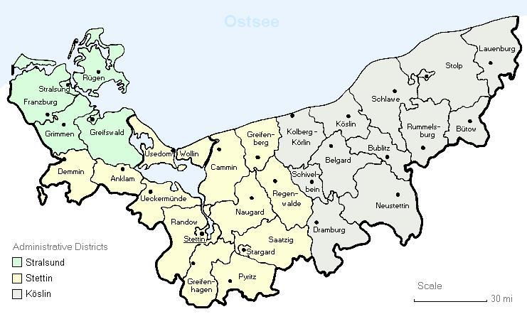 Pommern Germany Map.A3genealogy German Prussia Pommern Genealogy Research