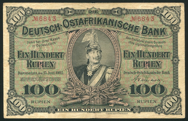 German East Africa 100 Rupien papiergeld Deutsch-Ostafrikanische Bank Banknoten