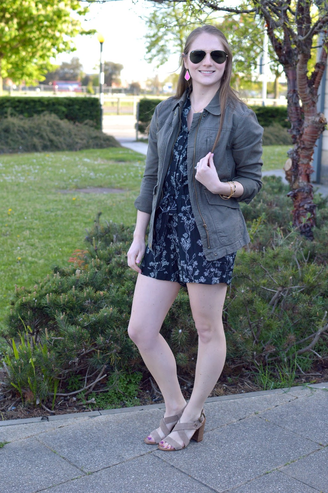 floral romper with a military jacket | a memory of us | spring outfit ideas | what to wear this spring | summer outfit ideas | what to wear with a military jacket|  how to style a romper | layering with a romper | block heels | spring trends |