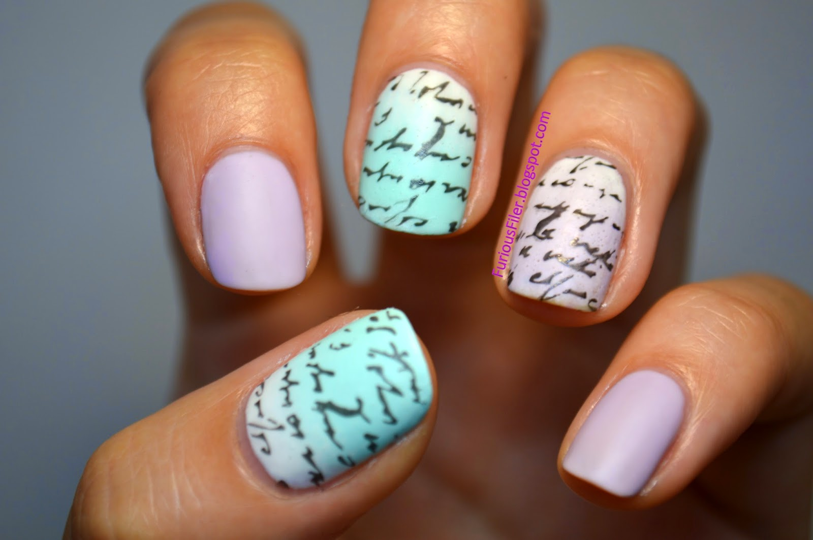 matte ombre writing nail art MoYou