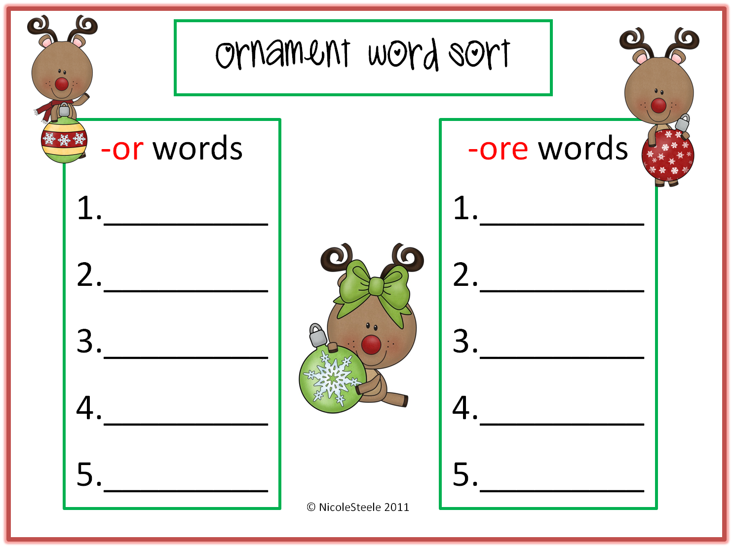 Steele Teaching Freebie Ornament Word Sort Or Ore Words