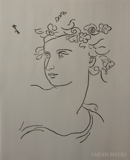 spring, lady, woman, line, drawing, sketch, sarah myers, art, artist, flowers, face, head, minimal, leaves, line-drawing, study, arte, dibujo, eyes, charcoal, pencil, minimalist, simple, classical