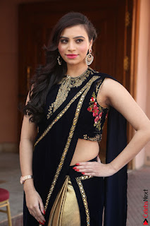 Priyanka Ramana in Beautiful Designer Black Saree At We Craft Elegance Expo Launch 049.JPG