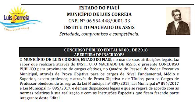 Prefeitura de Luis Correia lança edital para Concurso Público com 110 vagas.