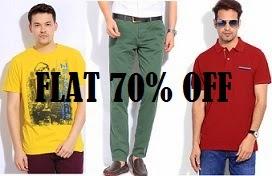 Amazing Offer: Flat 70% Off on Men's Clothing@ Flipkart (Valid till 2 PM Only)