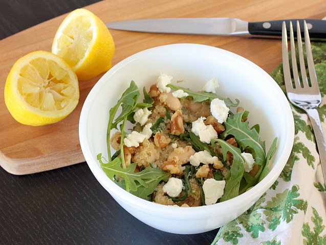 quinoa with arugula goat cheese beans