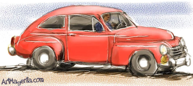 Volvo PV 544 is a car sketch by artist and illustrator Artmagenta