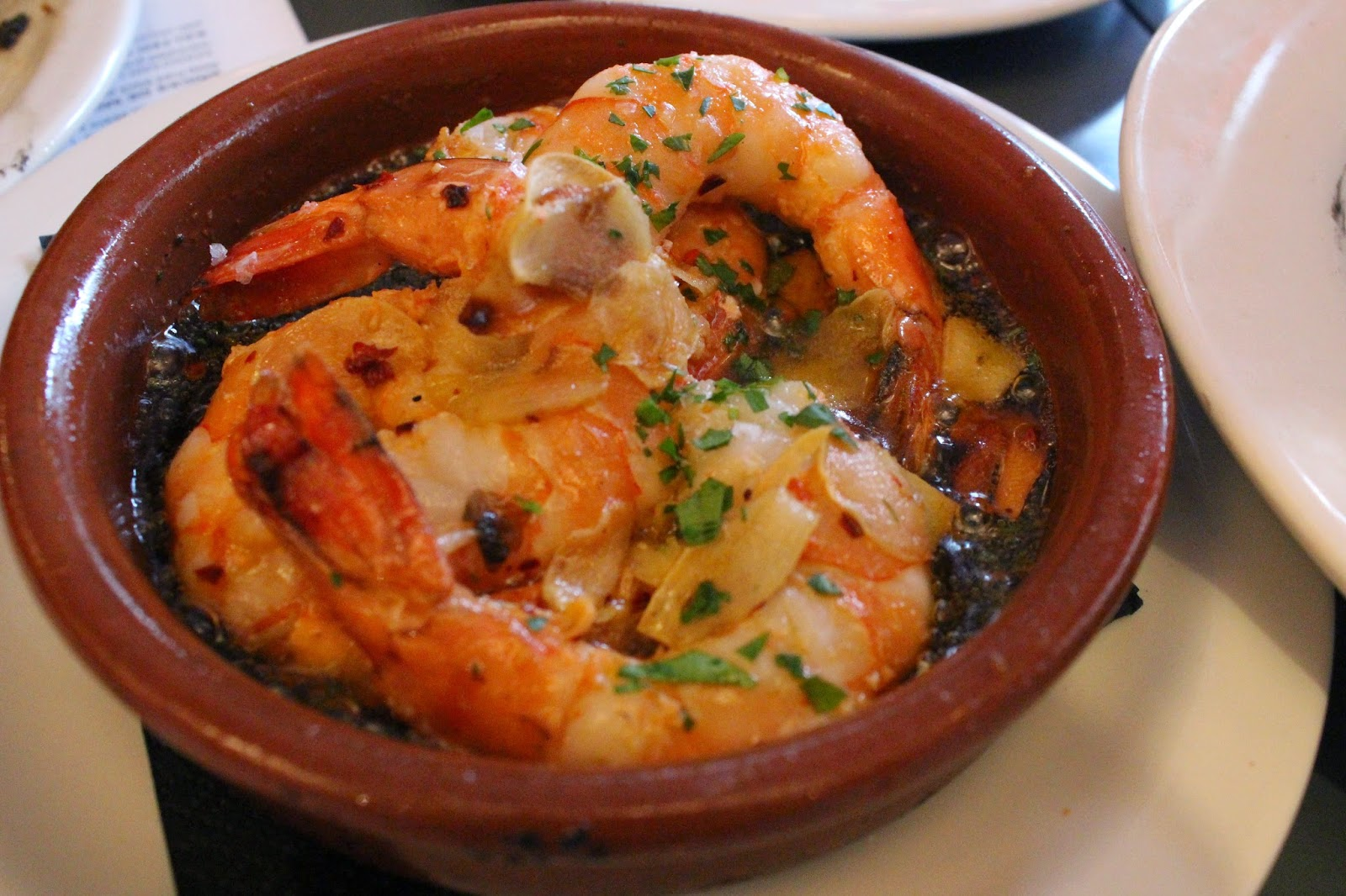 Gambas Al Ajillo: Chill garlic prawns. Moist and juicy prawns with a heavenly smell.