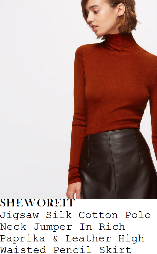 christine-bleakley-jigsaw-paprika-orange-long-sleeve-high-polo-neck-fine-knit-silk-cotton-jumper-and-chocolate-brown-high-waisted-panel-detail-leather-pencil-skirt