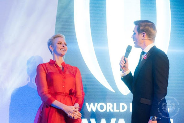Princess Charlene of Monaco attended the 2016 World Rugby Award ceremony at Hilton London Metropole Hotel in London, Princess Charlene wore Gown