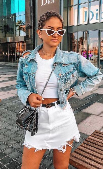 denim on denim | jacket + bag + skirt + white crop top