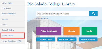 snapshot of library web page.  Journal Finder tab is highlighted.
