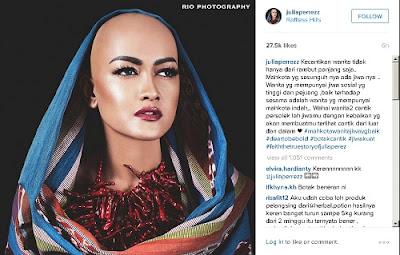 Kabar menghebohkan tiba dari dunia selebriti tanah air Julia Perez Unggah Foto Botak di Akun Instagramnya