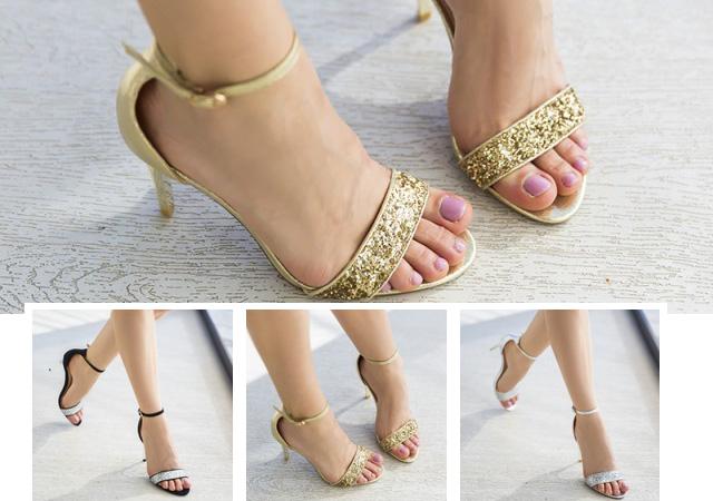 Sandale aurii argintii de ocazie, cu toc inalt, de vara ieftine