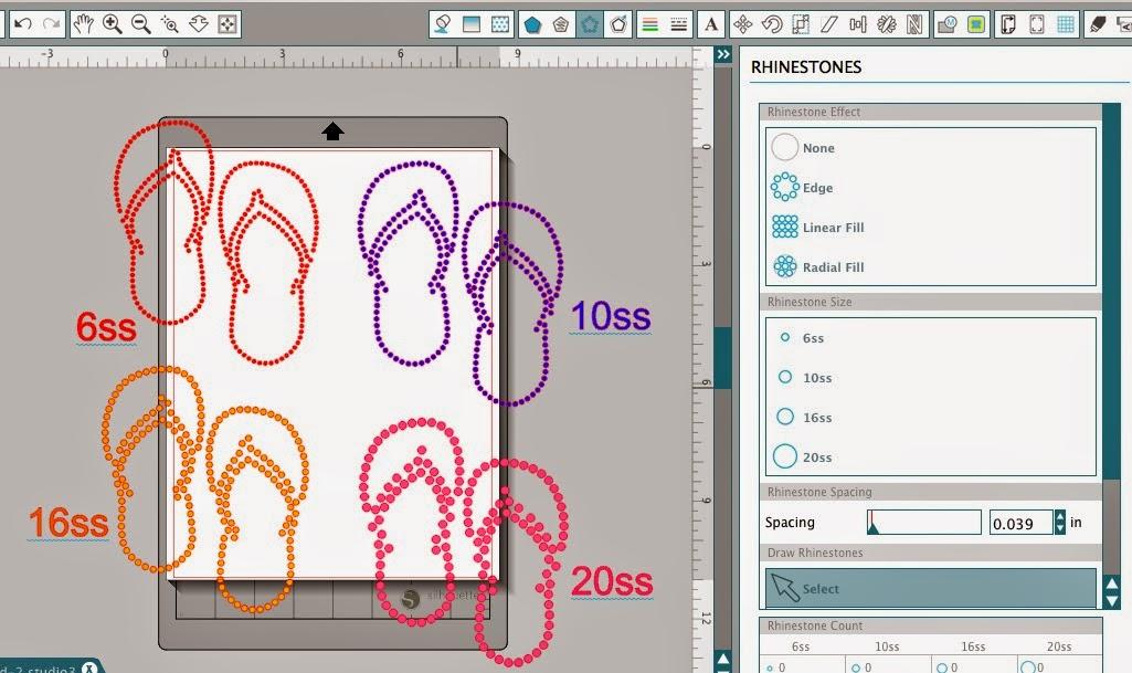 Silhouette Studio, custom, rhinestone designs, Silhouette tutorial, rhinestones, size options