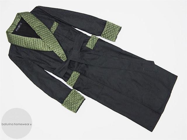 men's long quilted silk dressing gown black green warm gentleman robe lined full length luxury gentleman smoking jacket