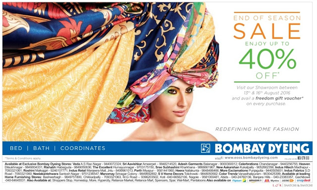 End of season sale  enjoy up to 40% off on  Bombay dyeing | August 2016 discount offers