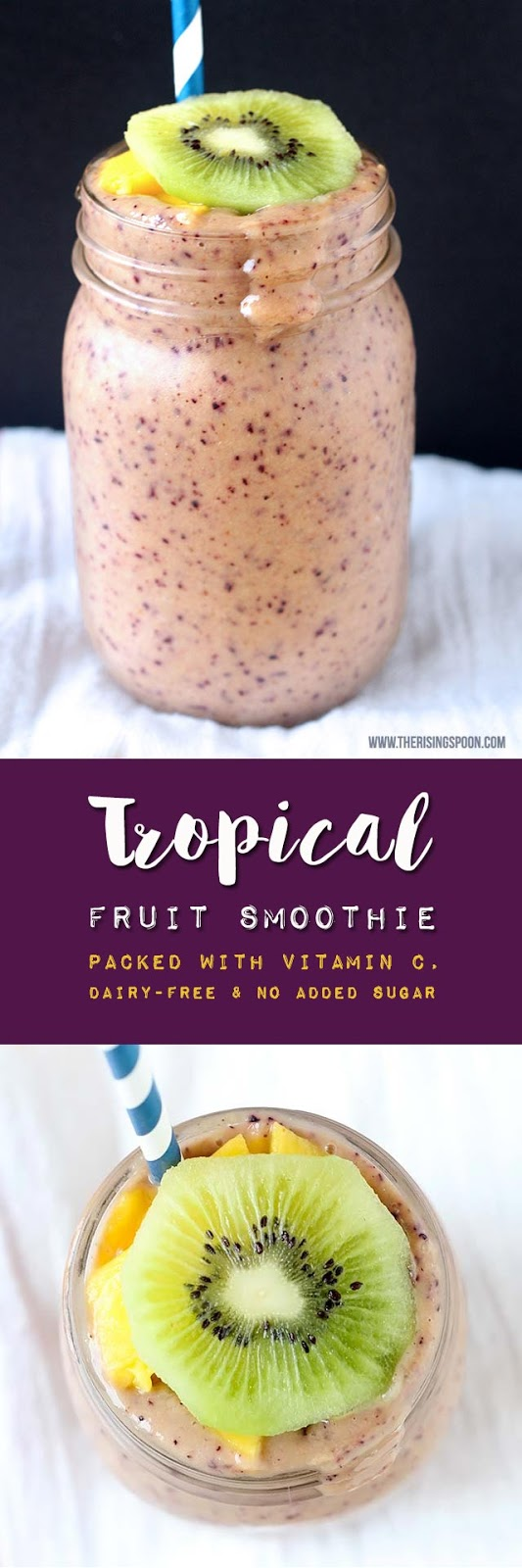 A healthy smoothie recipe with tropical fruits like mango and kiwi (both packed with vitamin C) + protein and healthy fats to create a balanced, nourishing drink that's perfect for a light breakfast, snack, or even dessert.