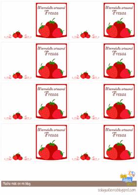 Etiquetas mermeladas de fresas para imprimir y descargar gratis