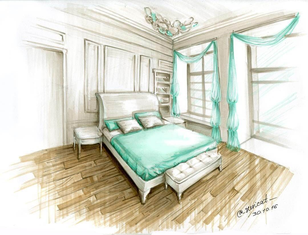 04-Master-Bedroom-Ekaterina-Surikat-Interior-Design-Architecture-and-Travel-Journals-Drawings-www-designstack-co