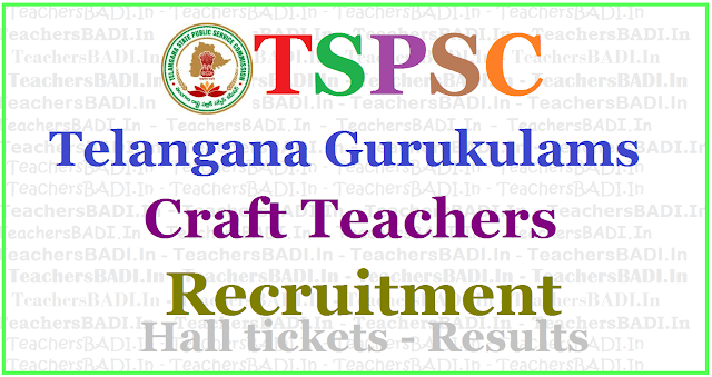 TSPSC Gurukulam Craft Teachers Recruitment 2017, Apply online,hall tickets,results